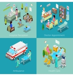 Isometric hospital interior doctor appointment vector