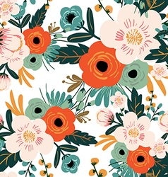 Flower seamless pattern vintage style vector image