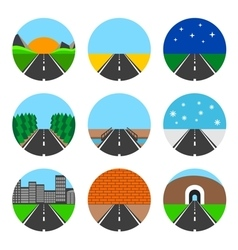 Icons of road landscapes vector image