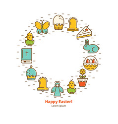 icons flat easter round frame vector image
