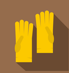 yellow rubber gloves icon flat style vector image