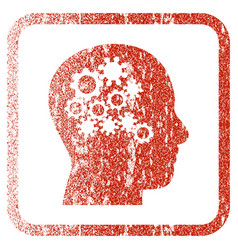 Human mind gears framed textured icon vector