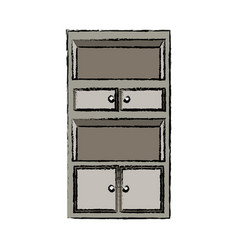 Cabinet shelf furniture wooden office empty vector