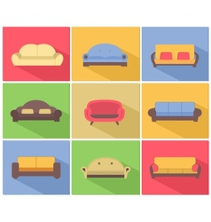 Sofas and couches icons set vector