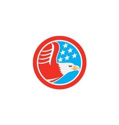American Bald Eagle Stars Circle Retro vector image