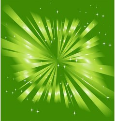 Sparkling stars on green ray background vector