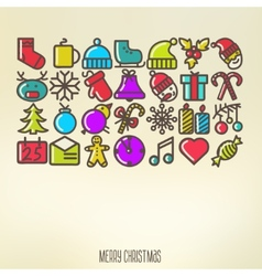 Christmas icons elements and vector image