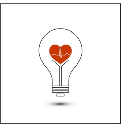 Heart beat in a light bulb vector