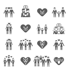 Non-traditional family icons set black vector