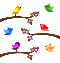 Birds colorful on tree branches silhouettes vector