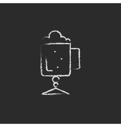 Glass mug with foam icon drawn in chalk vector