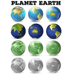 Planet earth in different form vector