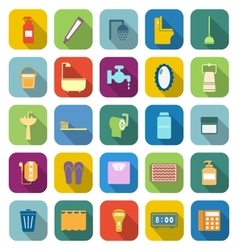 Bathroom color icons with long shadow vector image
