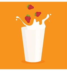 Milk splash in the glass and strawberry vector