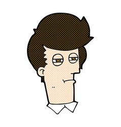 Comic cartoon man with narrowed eyes vector