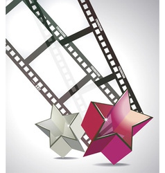 Film strip with 3d glass stars vector
