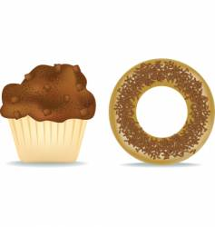 muffin and donut vector image