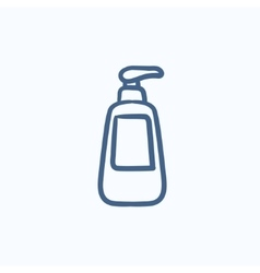 Bottle with dispenser pump sketch icon vector