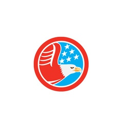 American bald eagle stars circle retro vector