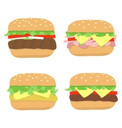Burger sandwich set vector
