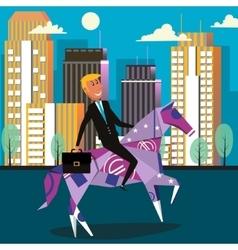 Businessman riding money horse cartoon vector