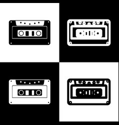 Cassette icon audio tape sign black and vector