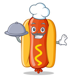 Chef with food hot dog cartoon character vector