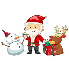 Christmas theme with Santa and snowman vector image