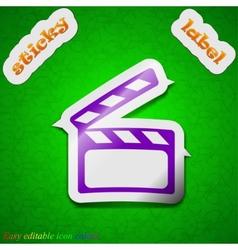 Cinema clapper icon sign symbol chic colored vector