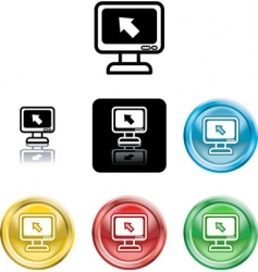 computer monitor icon symbol vector image vector image