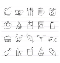 different king of food and drinks icons 1 vector image