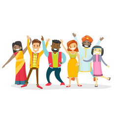 diverse group of multicultural happy smiling vector image