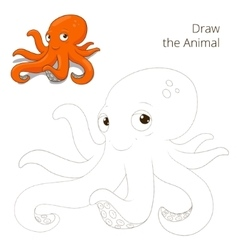 Draw the fish animal octopus educational game vector