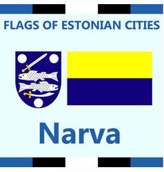 Flag of estonian city narva vector