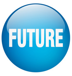 Future blue round gel isolated push button vector