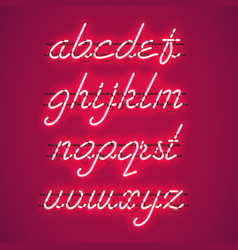 Glowing red neon lowercase script font vector