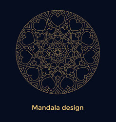 golden ornament mandala with hearts on black vector image
