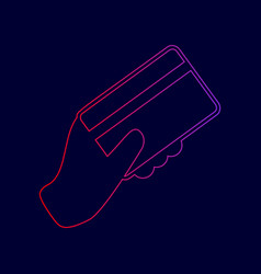 Hand holding a credit card line icon with vector