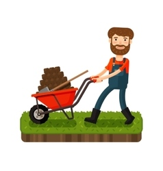 Happy farmer pushing a cart with black earth vector