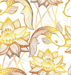Ink hand drawn golden koi seamless pattern vector image