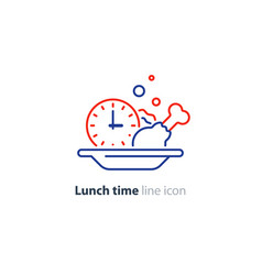 lunch plate tasty dinner main course clock icon vector image vector image