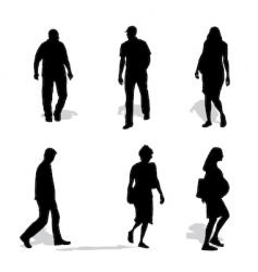 men and women walking silhouettes vector image vector image
