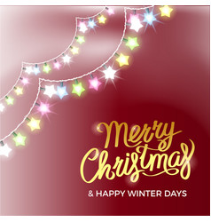 merry christmas and happy winter days poster vector image vector image