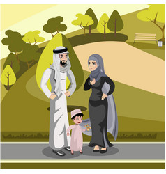 Muslim family standing in the park vector