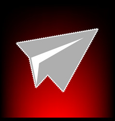paper airplane sign postage stamp or old photo vector image