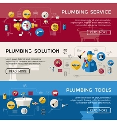 Plumbing Banner Set vector image