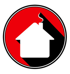 Red round black shadow - white house with chimney vector