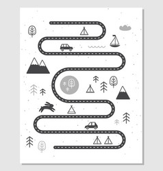 road mountains and woods adventure map vector image vector image