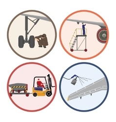 Set of images Mechanic repairing an airplane vector image vector image