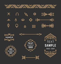 Set of line art decorative geometric frames and vector